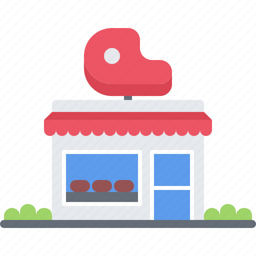 building, butcher, food, meat, shop icon