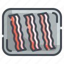 bacon, butcher, food, grill, meat, protein, strips icon