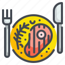 dish, food, grill, meat, proteins, roast, steak icon