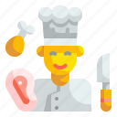 chef, cook, cooker, cooking, kitchen, male, restaurant icon