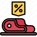 butcher, discount, food, meat, shop, steak icon