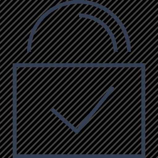 button, lock, tick icon