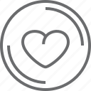 bouton, circle, heart icon