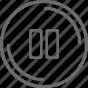 bouton, circle, paurse icon