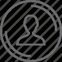 bouton, circle, person icon