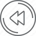 bouton, circle, previous icon