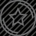 bouton, circle, star icon