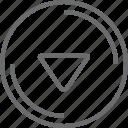 bouton, circle, down, triangle icon