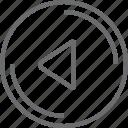 bouton, circle, left, triangle icon
