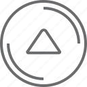 bouton, circle, triangle, up icon