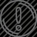 bouton, circle, warning icon