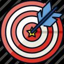 achievement, aim, goal, hit, success, target, winner