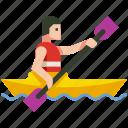 boat, canoe, canoeing, kayak, kayaking, paddle, sport icon