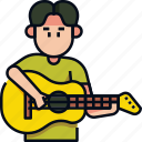 guitar, hobby, music, musical instrument, playing, playing guitar, playing music icon