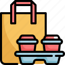 bag, beverage, cafe, cup, paper, restaurant, takeaway icon