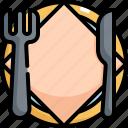 cafe, fork, knife, plate, restaurant, shop