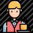 cafe, coffee, food, man, restaurant, shop, waiter icon