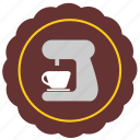 cafe, coffee, label, maker, mashine, sticker icon