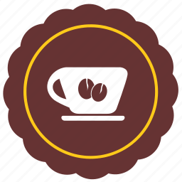 cafe, coffee, label, place, round, sticker icon
