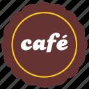 cafe, label, round, sticker