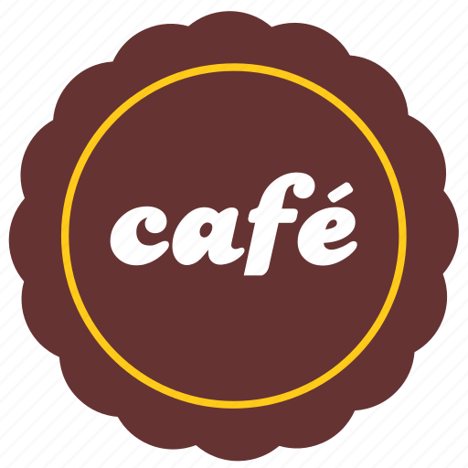 cafe, label, round, sticker icon