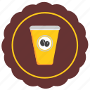 cafe, coffee, drink, label, round, sticker icon