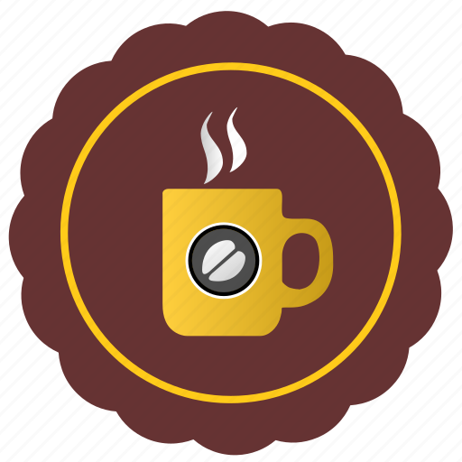 cafe, coffee, cup, drink, label icon