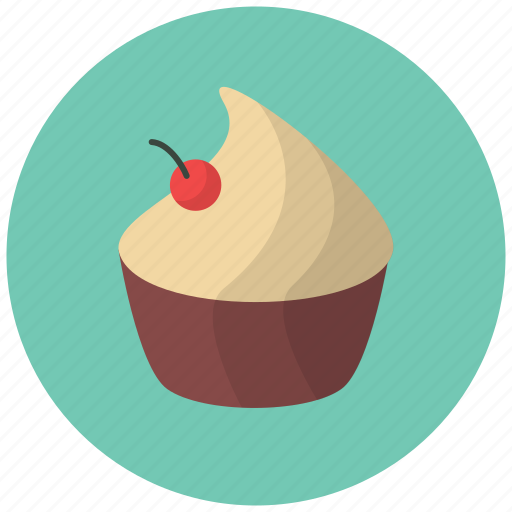 cake, cherry, confection, cupcake, dessert, food, fruit icon