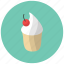 cake, cherry, confection, dessert, food, fruit, ice cream icon
