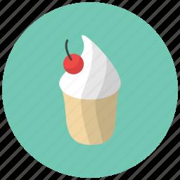 cake, cherry, confection, dessert, food, fruit, ice cream icon
