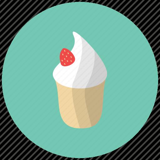 cake, confection, dessert, food, fruit, ice cream, strawberry icon
