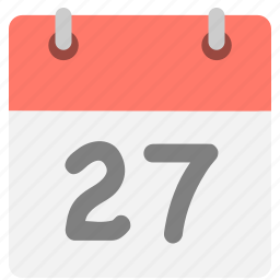 calendar, event, hovytech, schedule, seven, twenty-seven, two icon