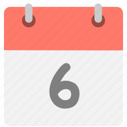 calendar, event, hovytech, schedule, six, sixth, time icon
