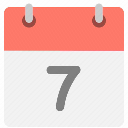 calendar, event, hovytech, schedule, seven, seventh, time icon