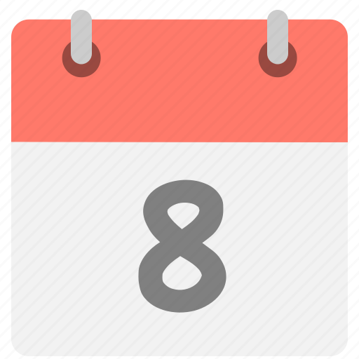 calendar, eight, eighth, event, hovytech, schedule, time icon