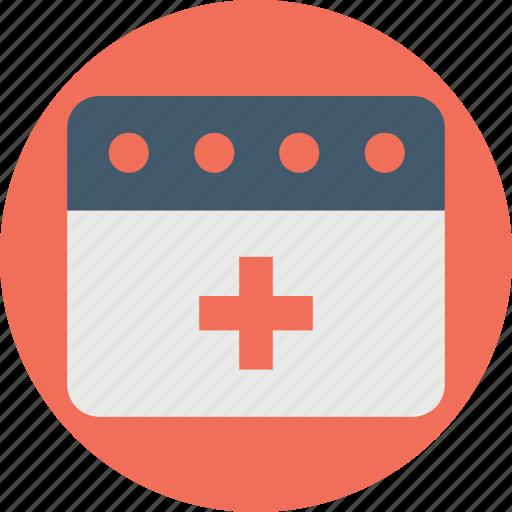 medical appointment, medical calendar, medical conference, medical events, medical programs icon