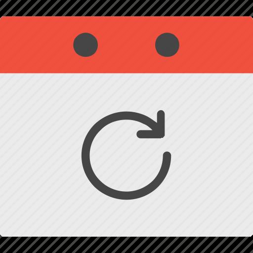 calendar, event, refresh icon