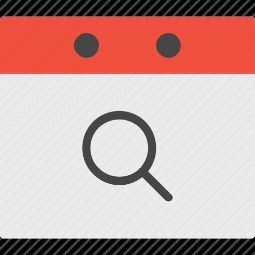 calendar, event, search icon