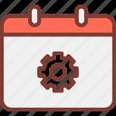 calendar, event, settings icon