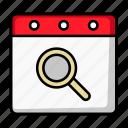 calendar, date, find, magnifier, schedule, search, zoom
