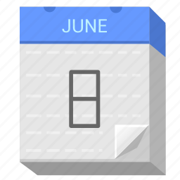 calendar, date, eight, june icon