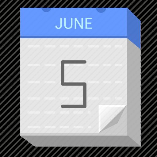 calendar, date, five, june icon