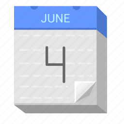 calendar, date, four, june icon