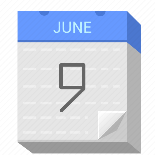 calendar, date, june, nine icon