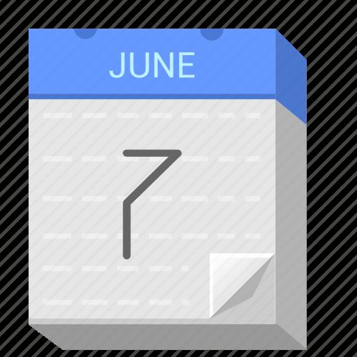 Calendar, date, june, seven, 7 icon - Download on Iconfinder