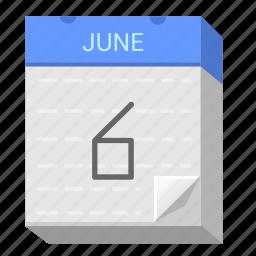calendar, date, june, six icon