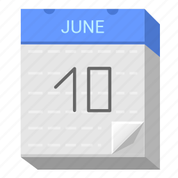 calendar, date, june, ten icon