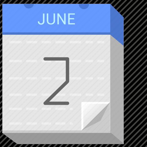calendar, date, day, june, second icon