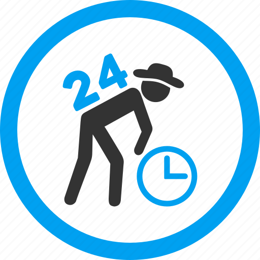 around the clock, employee, entire day, job, service, work time, worker icon