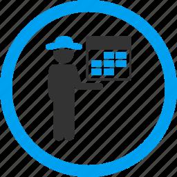 account, calendar, customer, man, person, schedule, user icon